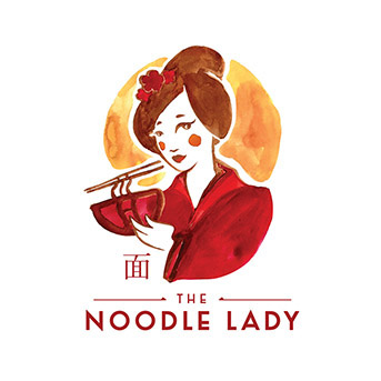 Branding sample from Vanessa Lindo, studio ink & pixel The Noodle Lady logo