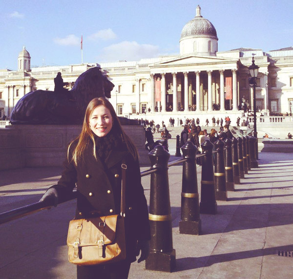 Vanessa at Trafalgar Square - The National Gallery London UK