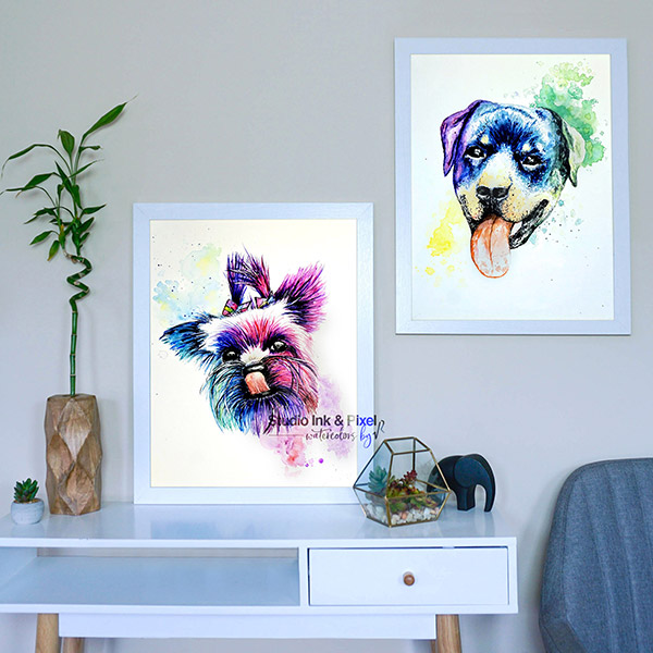 Custom Watercolor Pet Portraits from Studio Ink & Pixel