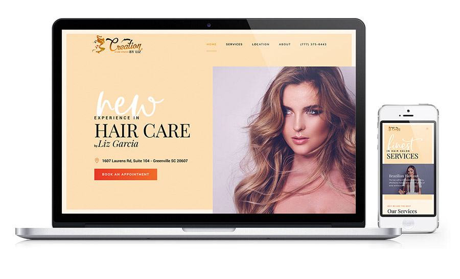 Creation Hair Studio by Liz - Hair Salon website